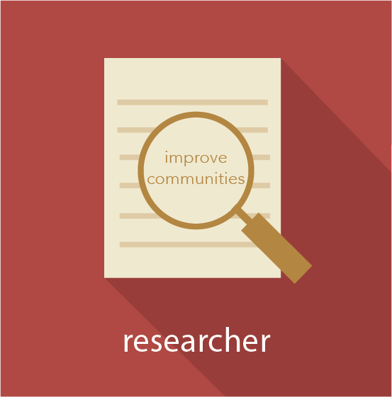 Icon for the researcher pathway showing a magnifying glass over a piece of paper