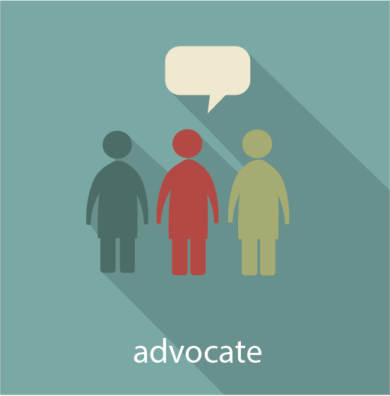 Icon for the advocate pathway showing three people standing side by side and speaking out
