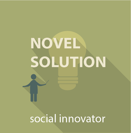 Icon for the novel solution pathway showing a person with a lightbulb above them