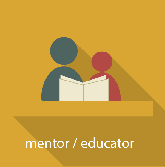 Icon for mentor/educator pathway showing an adult reading to/with a younger person