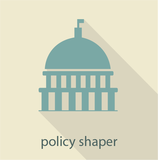 Icon for the policy shaper pathway showing the capitol building