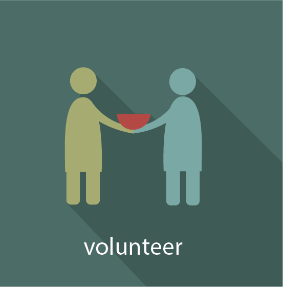 Icon for Volunteer Pathway showing two people working together